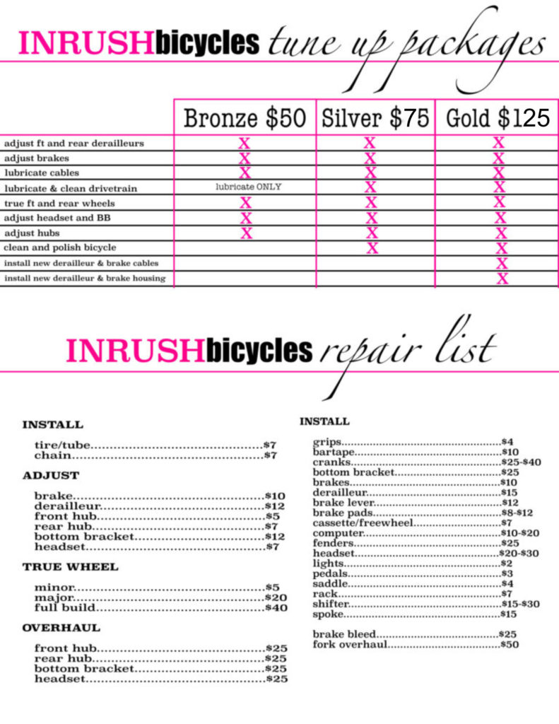 Tune Up Prices >> Service Prices Inrush Bicycles